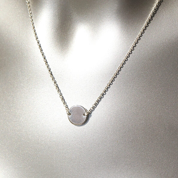 10mm coin necklace geometric modern fine NEXT ROMANCE sterling silver chain