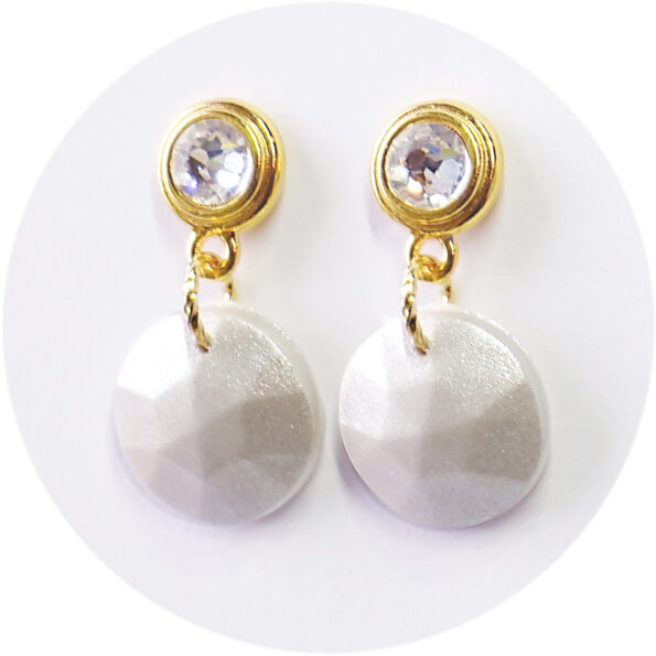 _NEW PEARLESCENCE faceted x pearl diamonté stud earrings – silver, gold
