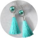 PEARL and hammered hoop TASSEL earrings SILVER teal next romance jewellery
