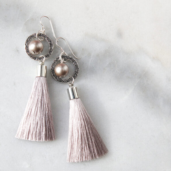 PEARL and hoop TASSEL earrings SILVER grey latte next romance jewellery