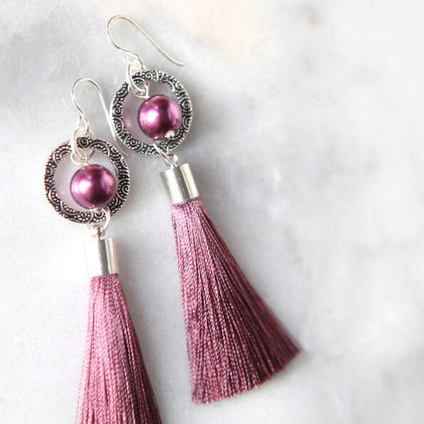 PEARL and hoop TASSEL earrings SILVER pink next romance jewellery
