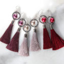 PEARL and hoop TASSEL earrings SILVER red pink grey 3 all next romance jewellery