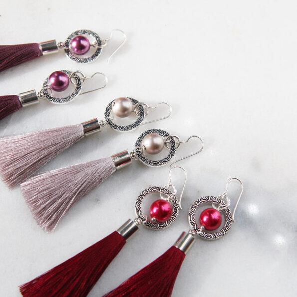 PEARL and SWIRL hoop TASSEL earrings SILVER – choose colour