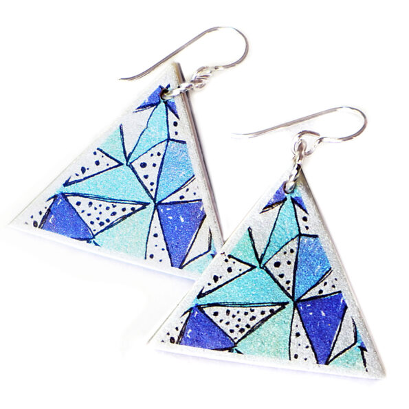 _PAPEL PICADO blue fiesta triangle unique earrings – silver, rose gold, gold