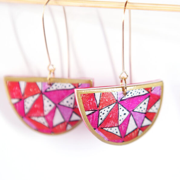 _new PAPEL fiesta MOON unique art earrings – 2 sizes 3 colours