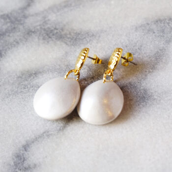 Pearlescence bubble pearl hammered studs NEXT ROMANCE jewellery australia earrings