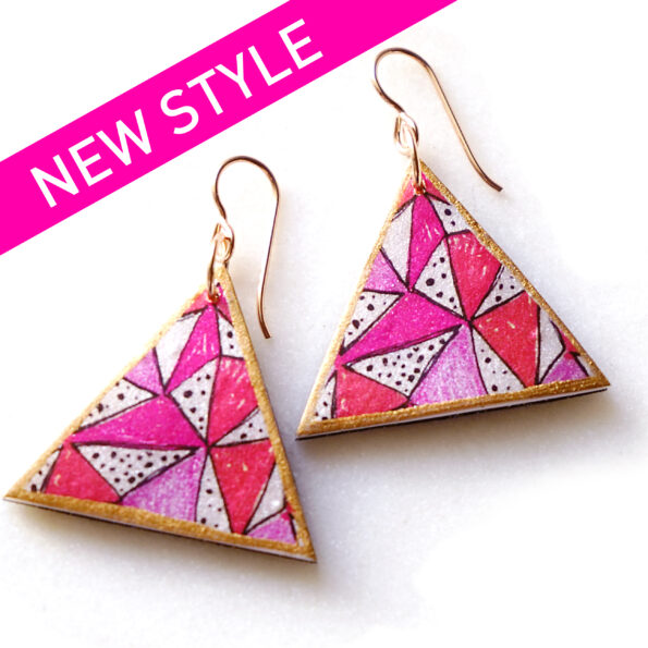 _PAPEL PICADO pink fiesta triangle unique earrings – silver, rose gold, gold