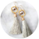pale green tassel pearl and hoop earrings unique funky australia melbourne designer vicki leigh