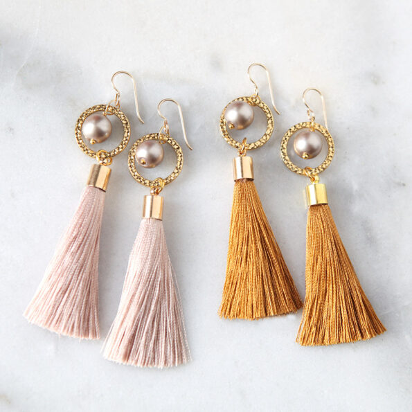 _ NEW PEARL and Hammered HOOP TASSEL earrings GOLD – choose colour