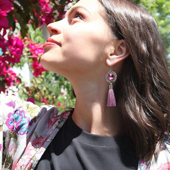 pearl swirl pink silver earring-tassel-NEXT-ROMANCE-JEWELS