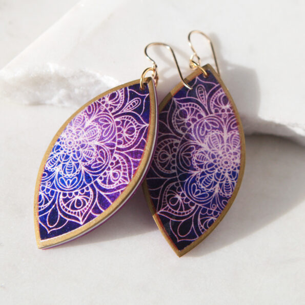purple mandala earrings next romance jewellery australia vicki leigh