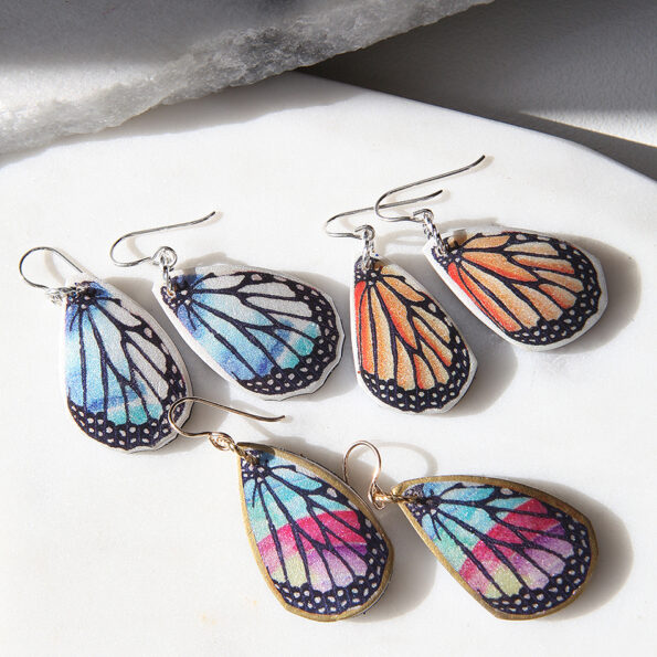 unique butterfly wing earrings NEW next romance jewellery vicki leigh Finders Keepers Big Design Market handmade australian design art polymer resin funky eclectic watercolour