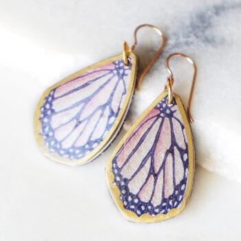 butterfly art unique earrings teardrop orange next romance jewellery australia