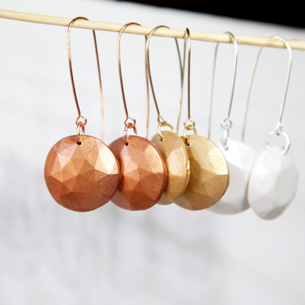 _NEW MICA GEM DROP faceted earrings – silver, gold, copper, pearl