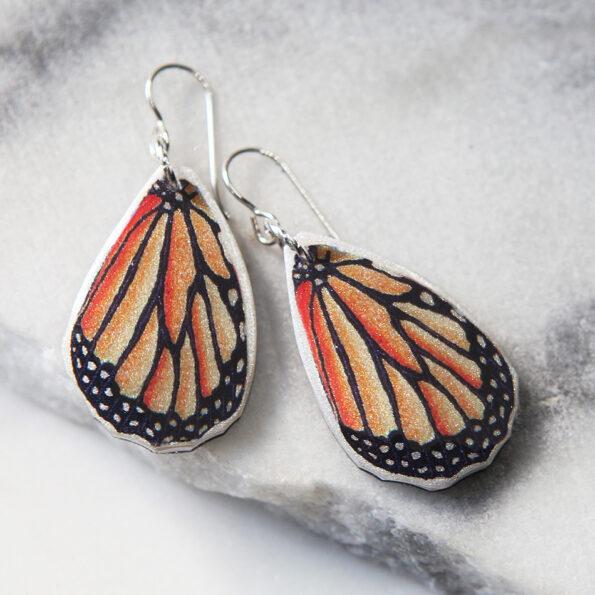 _NEW BUTTERFLY wing art earrings – gold, silver, rose gold