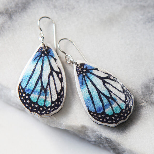 _NEW BUTTERFLY blue wing art earrings – gold, silver, rose gold