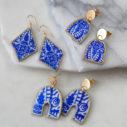 blue rhombus diamond  funky shape art earrings ceramic art earrings next romance jewellery australia vicki leigh