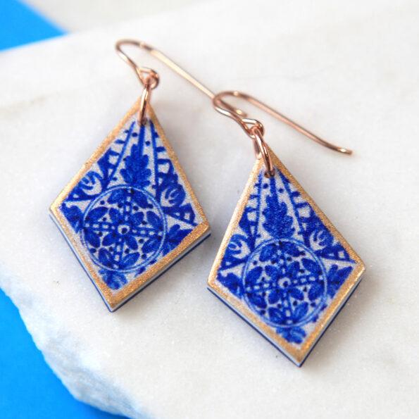 blue SAPPHIRE diamond tile art earrings – choose finish