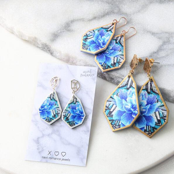 blue graffiti rose art geo earrings next romance designer australia
