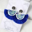 blue moon papel picado tassel fan earrings NEW NEXT romance