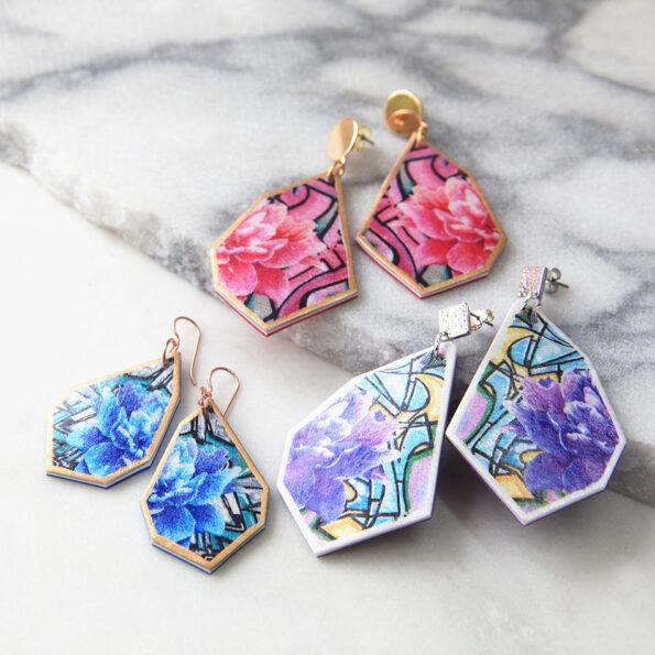 graffiti art earrings 3 styles pink blue purple rose