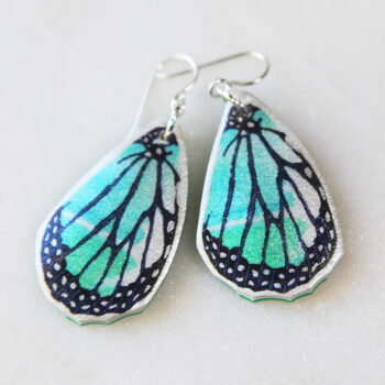 green butterfly wing earrings next romance unique jewellery australia silver
