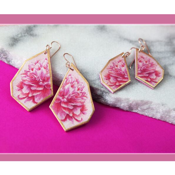 peony flora geometric wing pink marble rose gold NEXT ROMANCE jewellery unique funky designs
