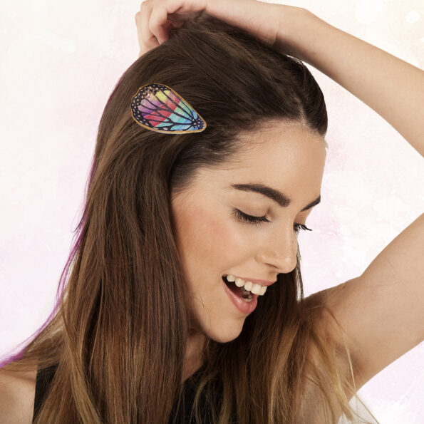 Butterfly Wing RAINBOW – watercolour art hair clip barrette
