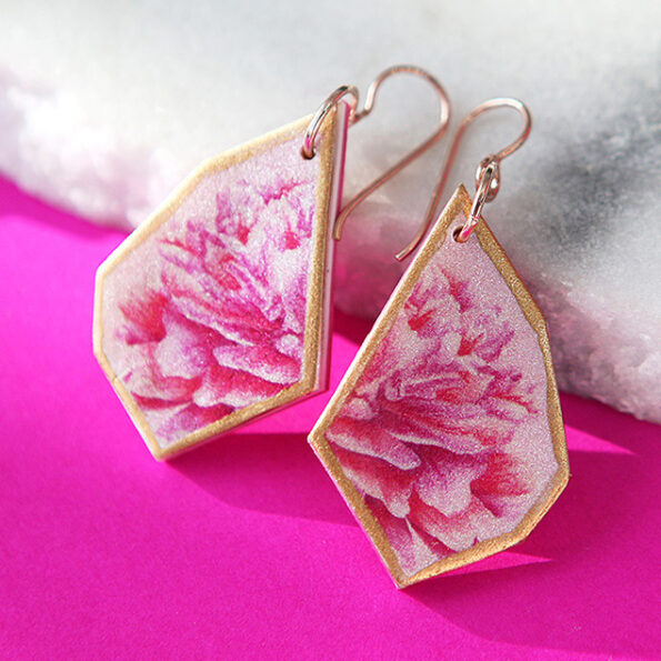 _ NEW design PINK PEONY art earrings – gold, silver, rose gold
