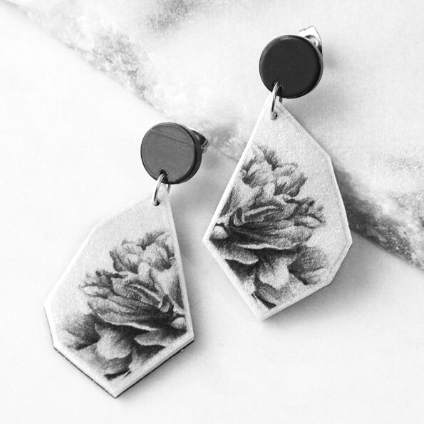 _PEONY ROSE black geo art unique earrings – gold, silver, rose gold