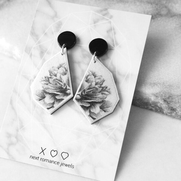 BW peony rose on CARD tile earring GEO NEXT ROMANCE stud jewellery hand made in australia
