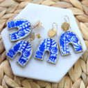 blue ceramic arch half moon funky shape art earrings arch ceramic art earringsa next romance jewellery australia vicki leigh