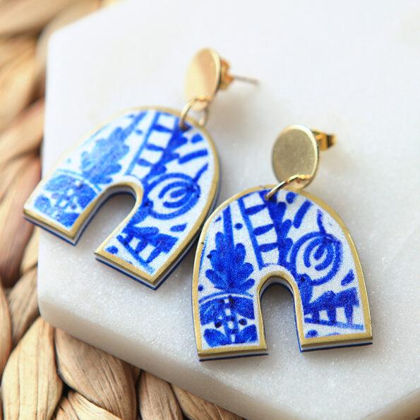 _BLUE SAPPHIRE ceramic tile art earrings – arch – choose finish