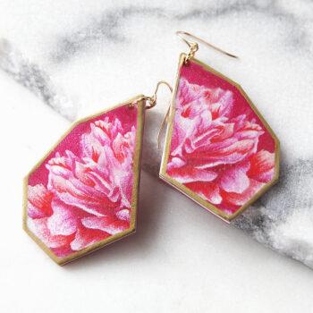 cherry peony rose art earrings unique design by Next romance jewellery vicki leigh 2019