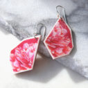 cherry red peony sketch angled art earrings geo unique next romance jewellery australia