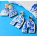 blue ceramic arch half moon funky shape art earrings arch ceramic art earringsa next romance jewellery australia vicki leigh