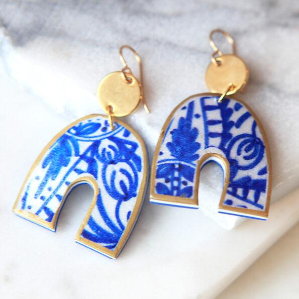 blue ceramic arch half moon funky shape art earrings arch ceramic art earrings next romance jewellery australia vicki leigh