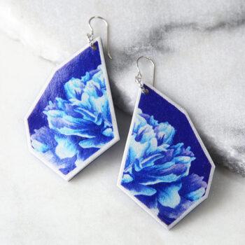 navy blue peony geo rose art tile earrings next romance jewellery