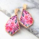 peony pink graffiti rose art geo earrings next romance designer australia