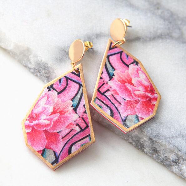 _geo GRAFFITI ROSE earrings – peony rose – choose size and finish