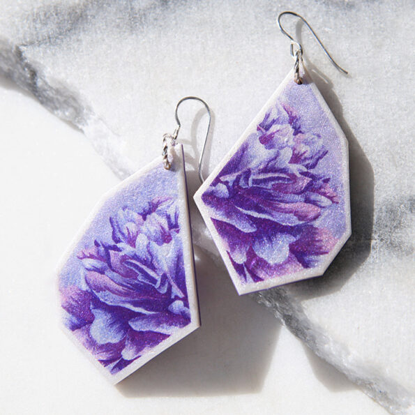_ NEW design Purple PEONY geo art earrings – gold, silver, rose gold