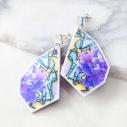 purple rose teal graffiti art earrings NEXT ROMANCE