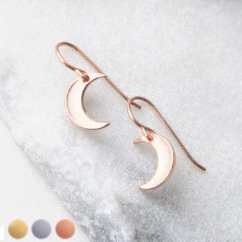 rose gold GSR moon earrings silver modern next romance jewellery
