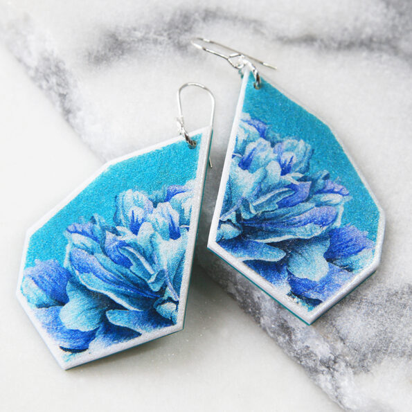 _PEONY ROSE teal geo art unique earrings – silver, gold, rose gold
