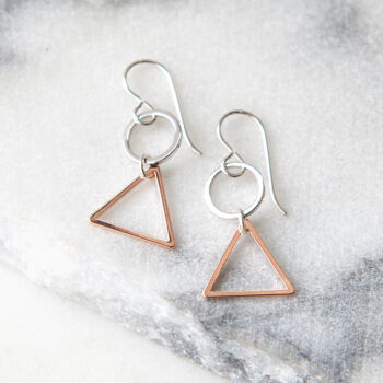 triangle two tone mini loop hoop earrings silver modern next romance jewellery