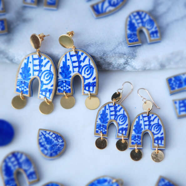 arch blue ceramic style earrings with coin new next romance jewellery australian made