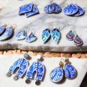 next romance jewellery blue ceramic arch half moon funky shape art earrings arch ceramic art earrings australia vicki leigh feather all