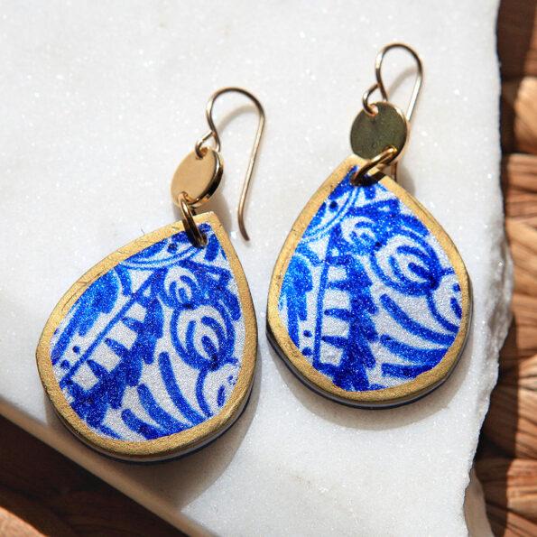 BLUE SAPPHIRE ceramic tile art earrings – teardrop – gold – silver – rose gold