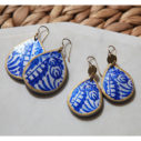 blue ceramic arch half moon funky shape art earrings teardrop ceramic art earrings next romance jewellery australia vicki leigh