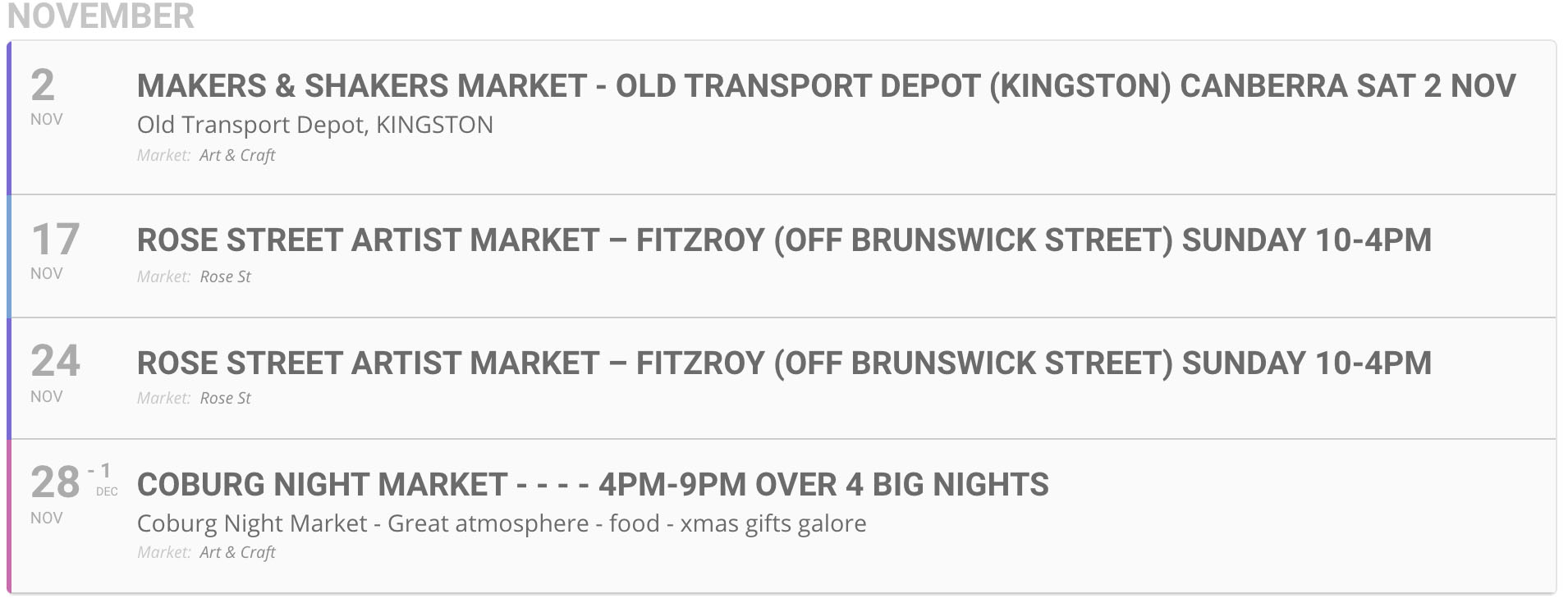 market dates november